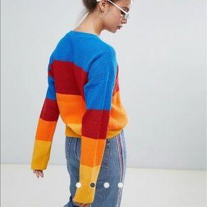 Rainbow Stripe Knit Sweater